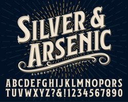 Silver and Arsenic font is an old style display alphabet. This vintage lettering style would work well for handcrafted artisanal logos or branding designs.