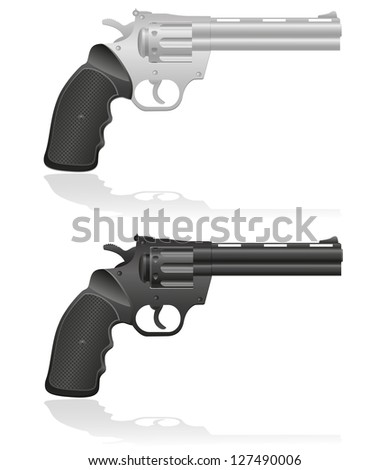 silver and black revolvers vector illustration isolated on white background
