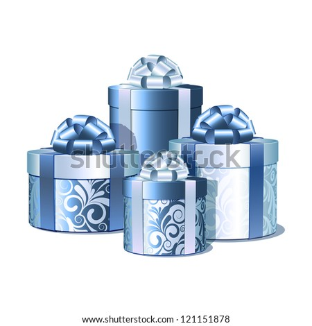 Silver and blue gift boxes. Vector illustration
