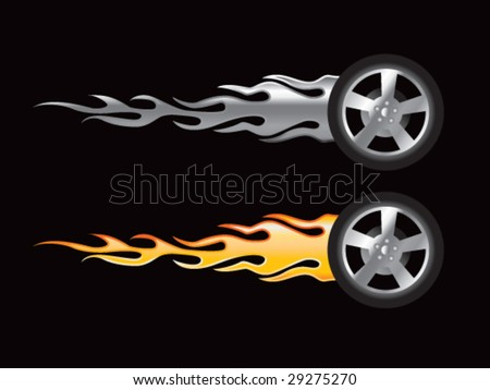 silver and gold flaming tires
