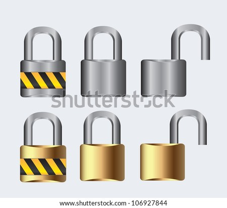 silver and gold lock open and closed on a white background, vector illustration
