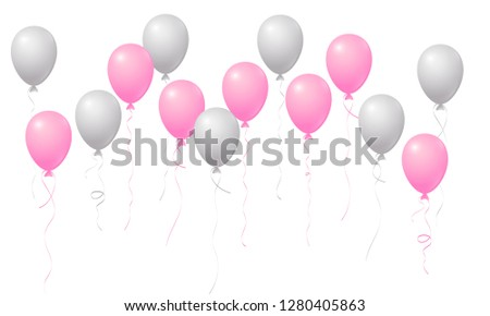 silver and pink flying balloons