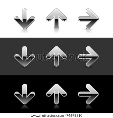 Silver arrow icon web 2.0 buttons with reflection and shadow on white, gray and black