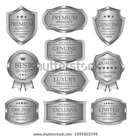 Silver badges seal quality product on white background #1099003598