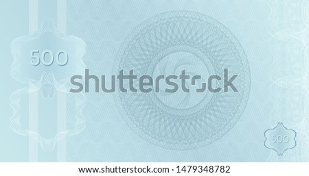 Silver Banknote 500 template with guilloche pattern watermarks and border. Light blue platinum background banknote, gift voucher, coupon, money design, currency, check, cheque. Vector Certificate.