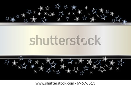 Silver banner with stars. vector illustration.