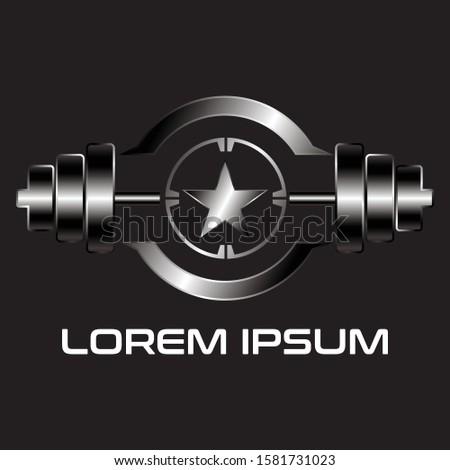 silver barbells star logo icon vector