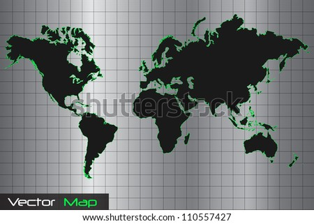 Silver, Black and Green World Map Vector Illustration
