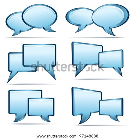 Silver blue and glass 3D and 2D speech bubbles