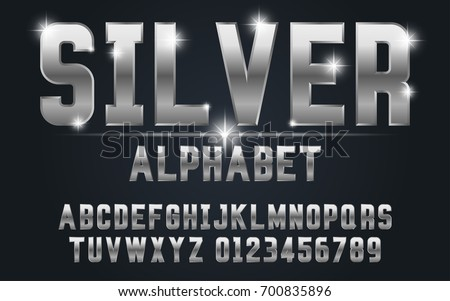 Silver bold typeface set style modern.Decorative alphabet vector fonts and numbers.Typography design for headlines, labels, posters, logos, cover, etc.