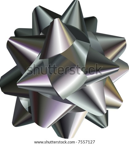 Silver Bow.  A vector illustration of a pretty silver bow, no meshes used