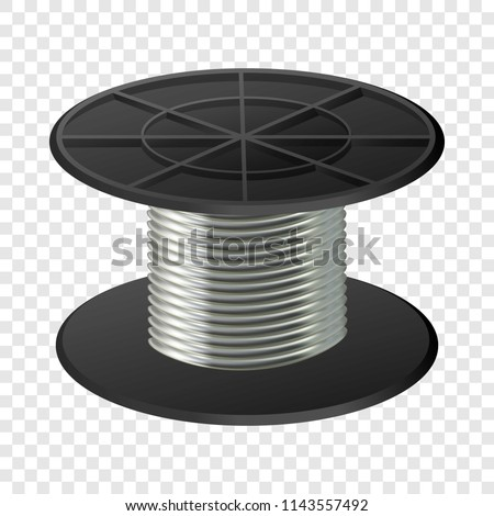 Silver cable coil spools mockup. Realistic illustration of silver cable coil spools vector mockup for on transparent background