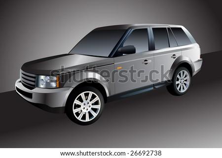 Silver car - stock vector