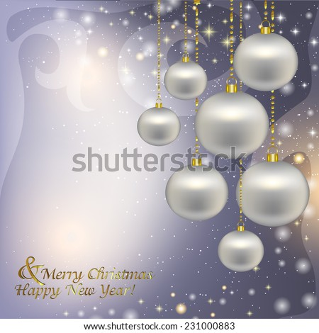 Silver Christmas decorations on a Christmas background. Vector illustration of holiday, Christmas tree decorations, menu, card, postcard, banner.