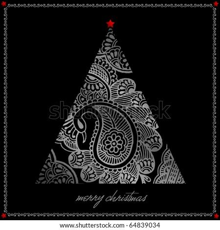 silver christmas tree illustration
