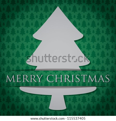 "Silver Christmas Tree ""Merry Christmas"" card in vector format."