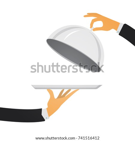 Silver cloche in hand. Restaurant plate in elegant waiter hand. Food serving tray. Vector illustration in modern flat style. ストックフォト ©