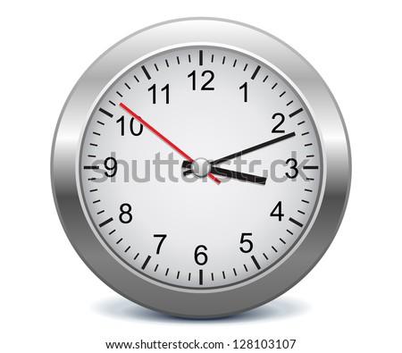Silver clock - stock vector