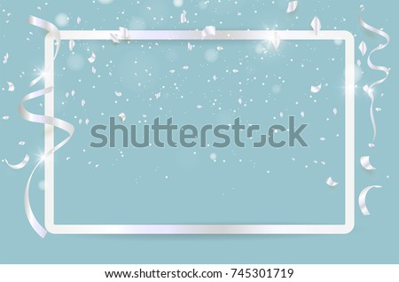 Silver confetti celebration on background. Vector illustration