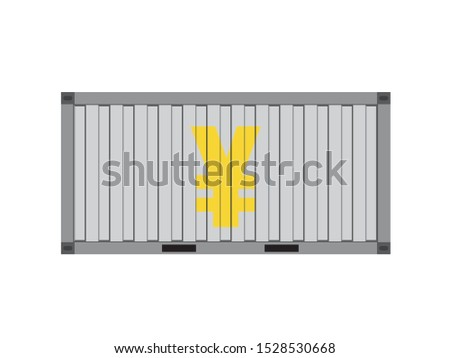 Silver container with gold yuan sign,business trade concept,vector illustration