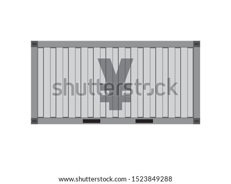 Silver container with yuan sign,business trade concept,vector illustration