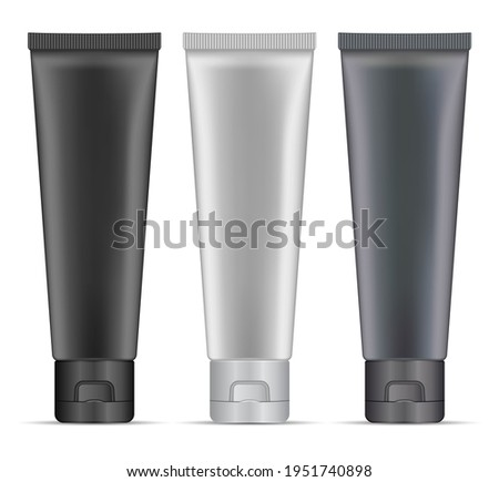 Silver cosmetic tube. Charcoal cream tube mockup. Toothpaste package, 3d vector blank. Makeup skin masque plastic packaging. Luxury premium men product, beauty container blank, hand cream Photo stock ©