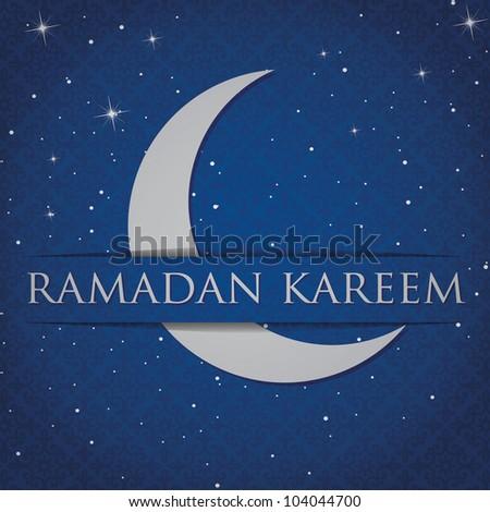 "Silver crescent moon ""Eid Mubarak"" (Blessed Eid) card in vector format."