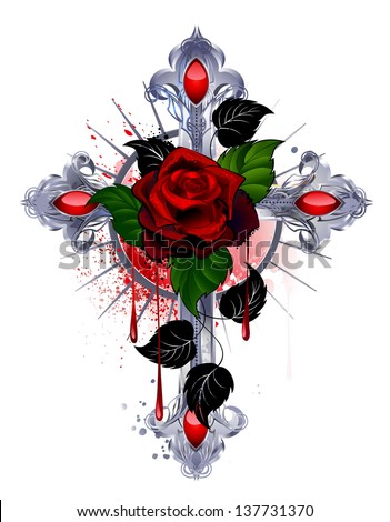 silver cross with a red rose