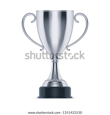 Silver cup or trophy for second place. 3d metal goblet for sport competition, award for soccer or race. Contest and ceremony, celebration and achievement. Shiny game reward and championship theme