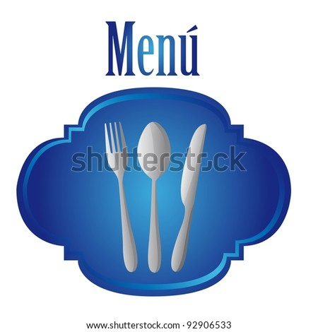 silver cutlery over blue tag isolated over white background. vector