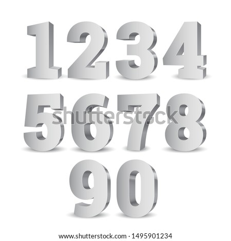 silver 3d numbers symbol set