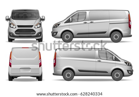 Silver delivery mini van isolated. Cargo vehicle front, side and rear view. Delivery  Van Mockup for Advertising and Corporate identity. Vector illustration of Realistic car.