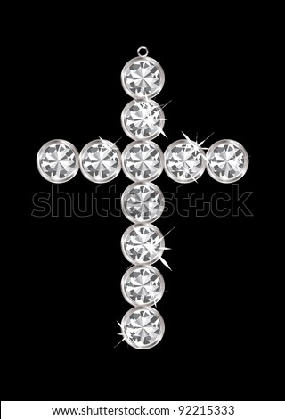 silver diamond cross religious