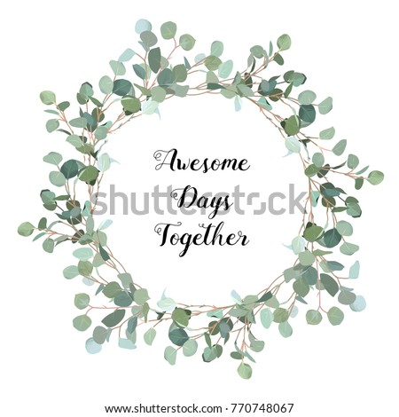 Silver dollar eucalyptus selection branches vector design frame. Cute rustic wedding greenery. Mint, blue tones. Watercolor style collection. Mediterranean tree. All elements are isolated and editable