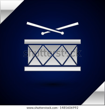Silver Drum with drum sticks icon isolated on dark blue background. Music sign. Musical instrument symbol.  Vector Illustration
