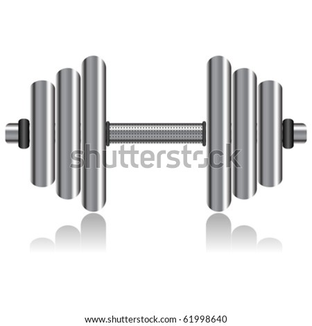 Silver dumbbell isolated over white square background - stock vector