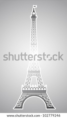 silver eiffel tower over silver background. vector illustration