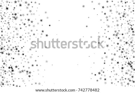Silver falling confetti stars. Luxury festive background. Silver abstract texture on a white  background. Element of design. Vector illustration, EPS 10.