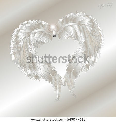 silver feather heart abstract