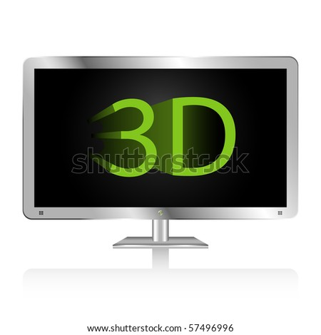 Silver flat wide screen display featuring 3D technology.