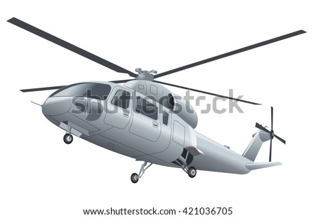 silver flying helicopter with