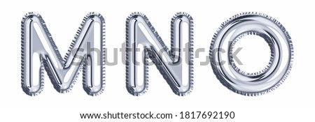 Silver foil balloon alphabet set letter M, N, O realistic 3d illustration metallic gray air balloon. Collection of balloon alphabet ready to use in headlines, greeting, celebration vector eps.