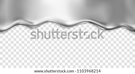 Silver foil drip pattern isolated on transparent background. Gray oil, chrome metal flow texture. Vector gradient  steel liquid smooth border template for your advertising design.