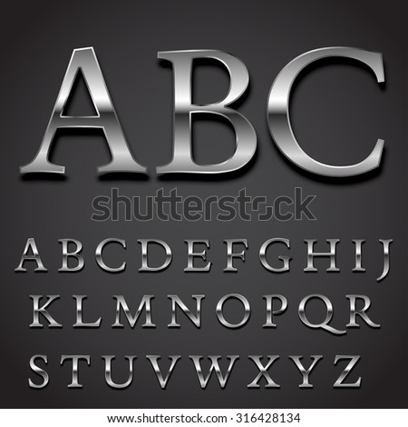 Silver font Vector set -  uppercase letters character part #316428134