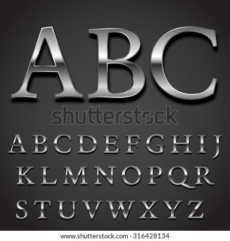 silver font vector set