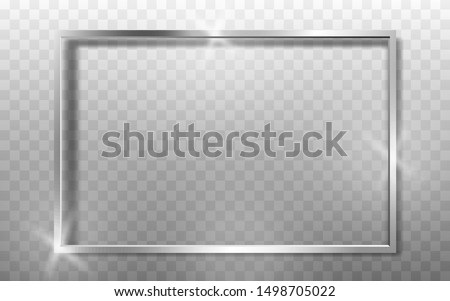 Silver Frame Realistic. High quality vector illustration EPS 10. On transparent background