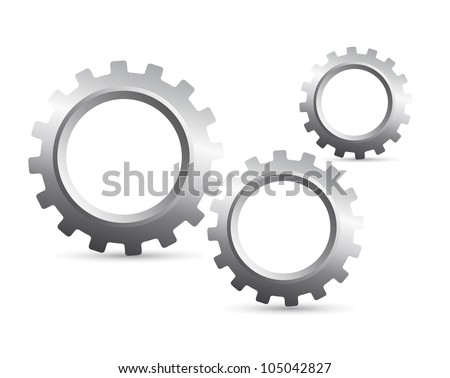 silver gears with shadow over white background. vector illustration