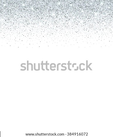Silver glitter and sparkles stripe on white background.