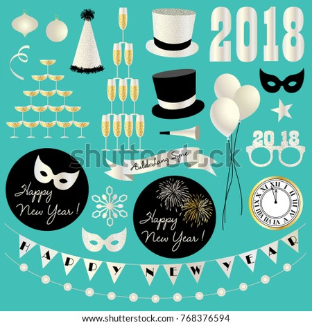 silver glitter new years eve 2018 vector clipart