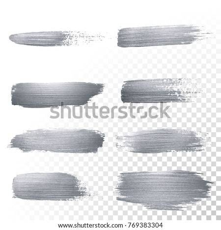 Silver glitter paint brush strokes set or abstract dab smear with smudge texture on transparent background. Isolated glittering silver paint ink paintbrush splash stain for luxury cosmetic design